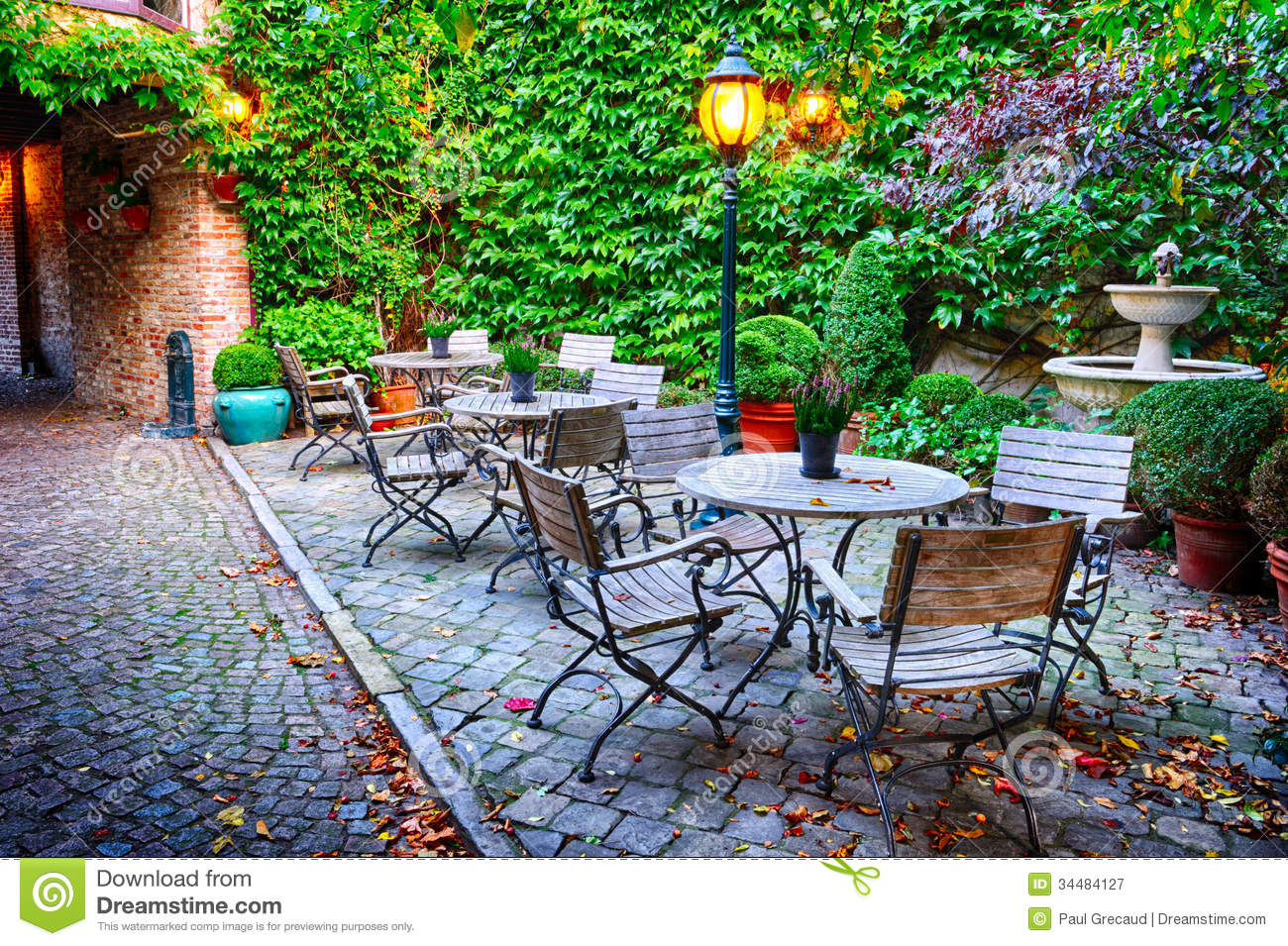 Cosy Cafe Terrace In Bruges Stock Image Image 34484127