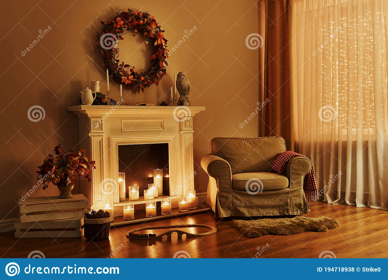 Cozy Fireplace With Armchair Interior In A Cozy House Stock Photo Image Of Design Decoration 194718938