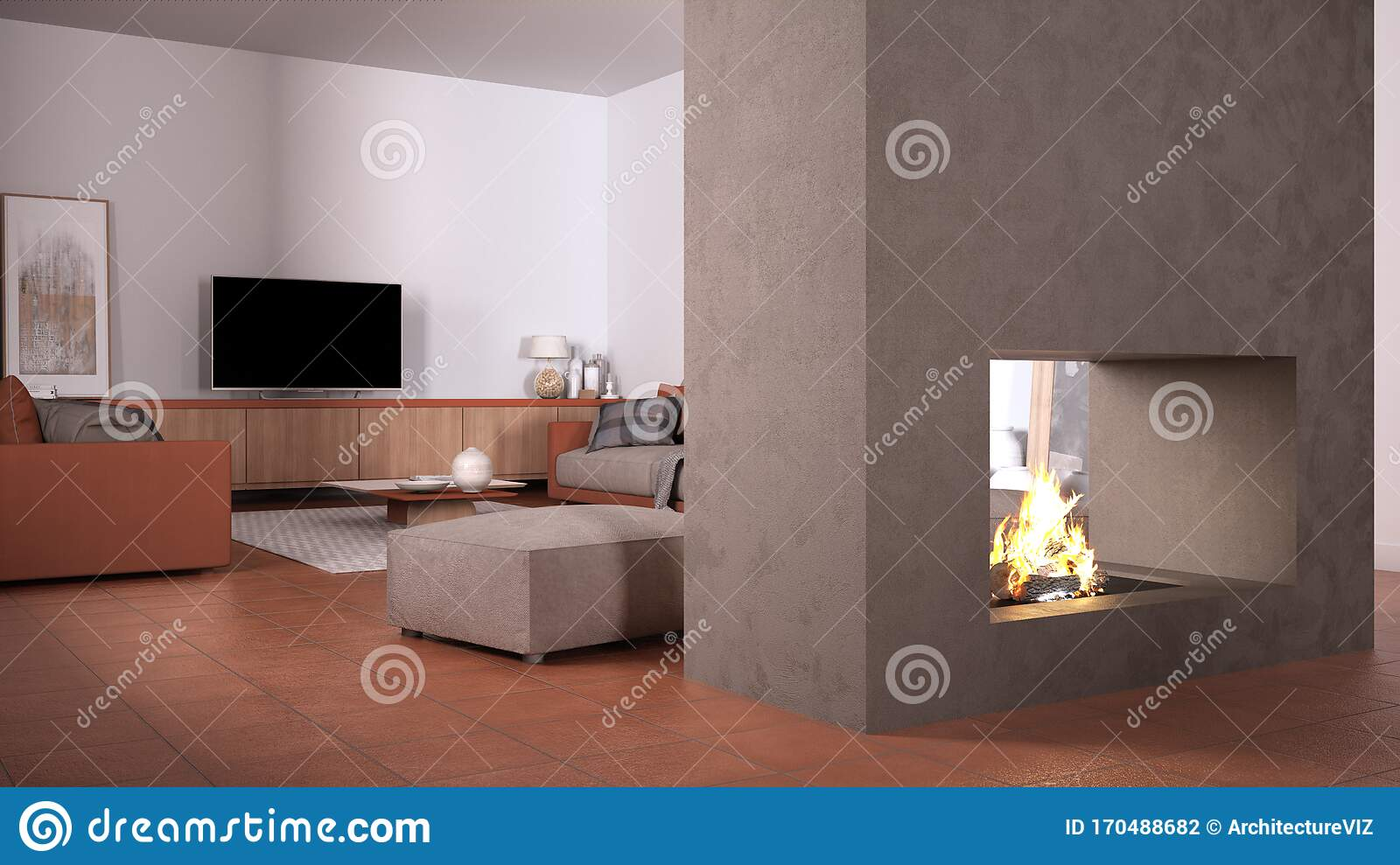 Cosy Orange And Beige Living Room With Sofa Carpet Table And Pouf Concrete Modern Fireplace And Walls Tv Cabinet Terracotta Stock Illustration Illustration Of Contemporary Cosy 170488682