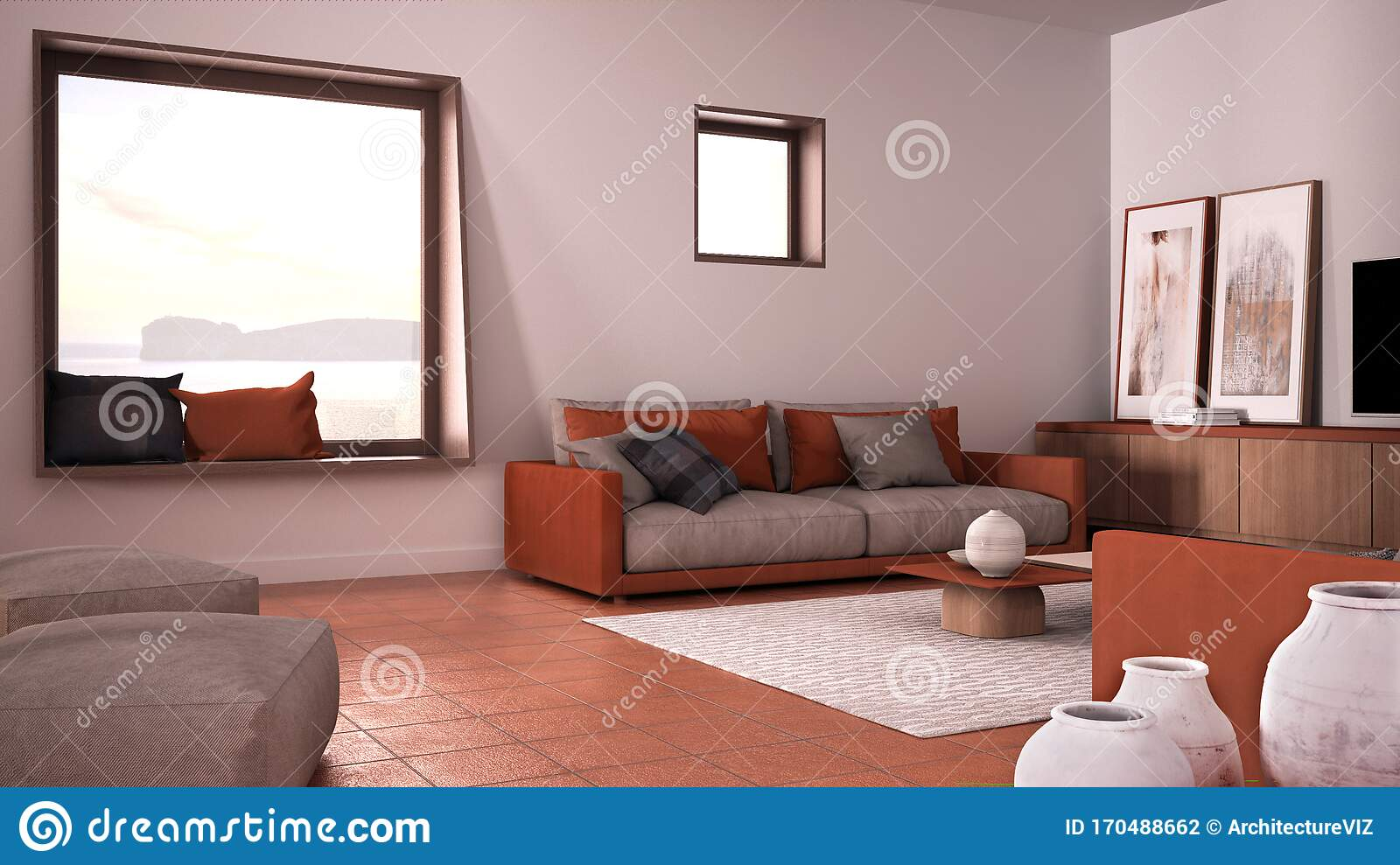 Cosy Orange And Beige Living Room With Sofa And Pillows Lounge Carpet Coffee Table Pouf And Decors Panoramic Window Stock Illustration Illustration Of Furniture Colorful 170488662