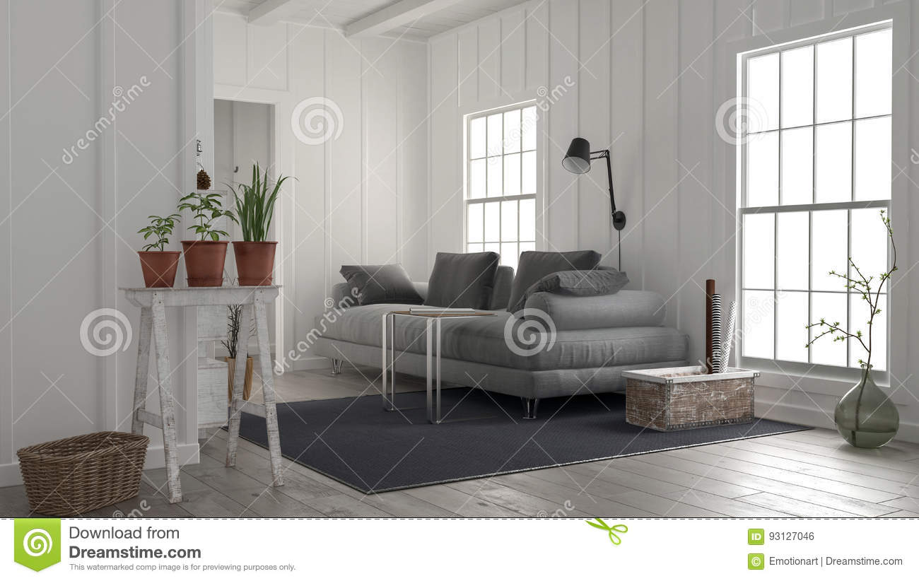 Cosy Rustic White Wood Living Room Interior Stock