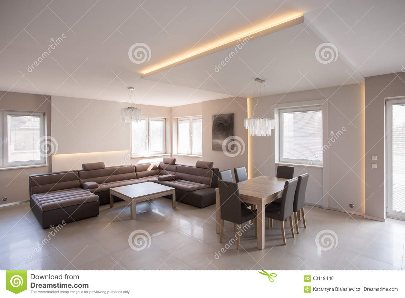 Cosy salon with dining set stock photo image 60119446 for Photo salon cosy