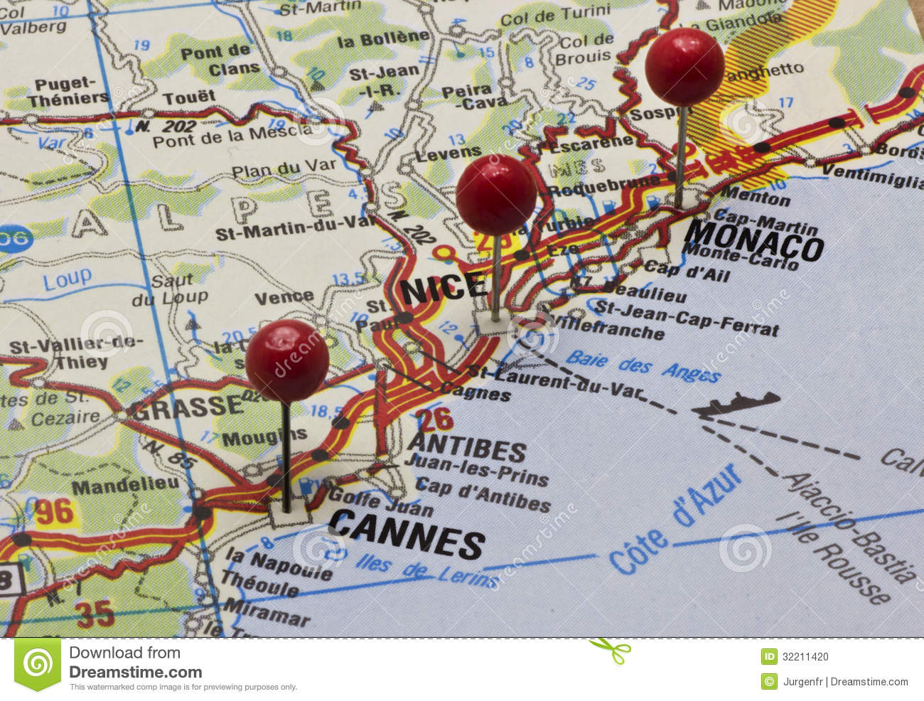 Cote Dazur On A Map With Push Pins Stock Photo Image of