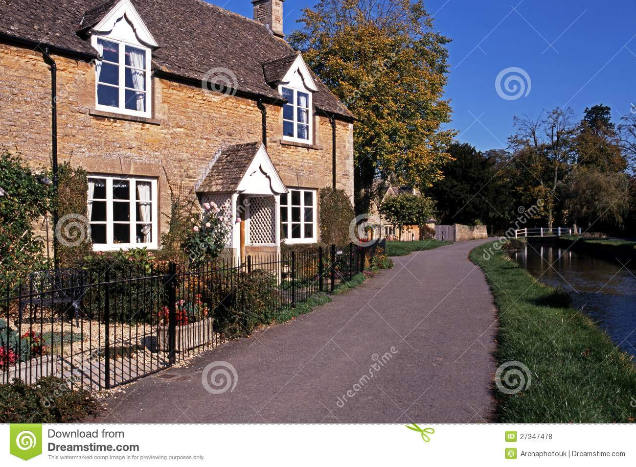 Cotswold Cottage Lower Slaughter England Royalty Free