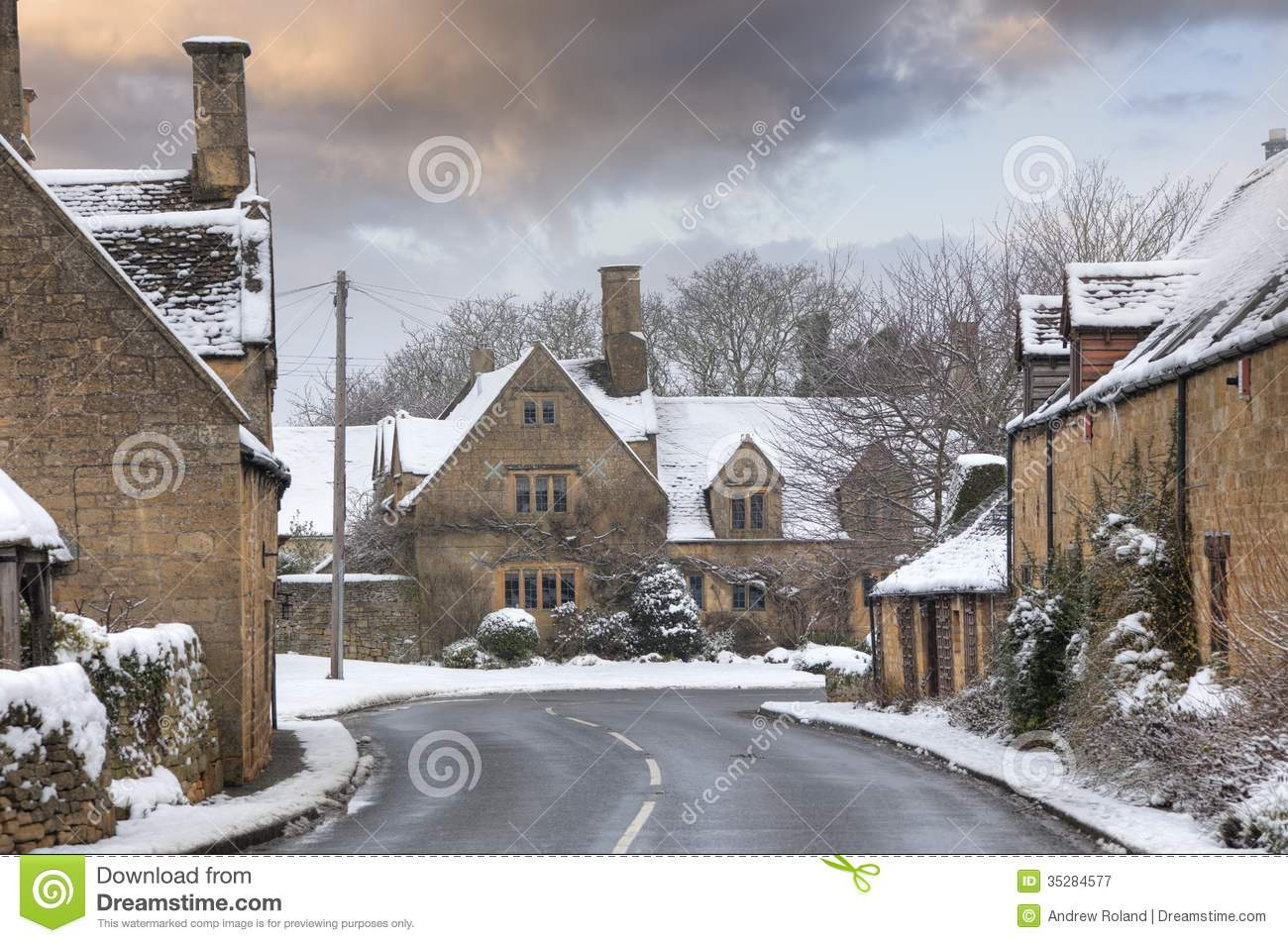 Cotswold village in snow royalty free stock photography image