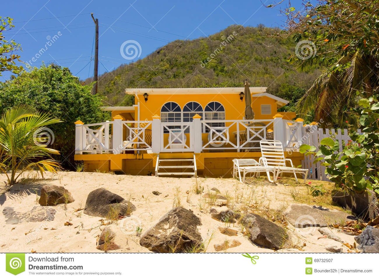 A cottage on the beach in the windward islands stock image for The windward