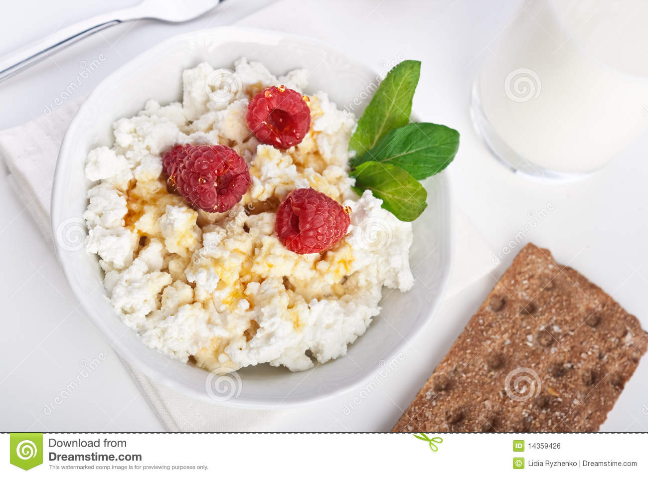Cottage Cheese Breakfast With Fresh Raspberry Royalty Free Stock Image ...