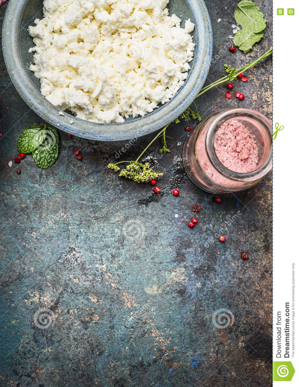 cottage cheese or feta cheese in blue bowl with fresh seasoning and rh dreamstime com cottage cheese seasoned salt cottage cheese ranch seasoning