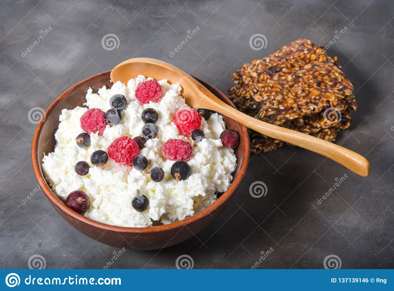 Pleasing Cottage Cheese With Frozen Berries Stock Photo Image Of Interior Design Ideas Tzicisoteloinfo