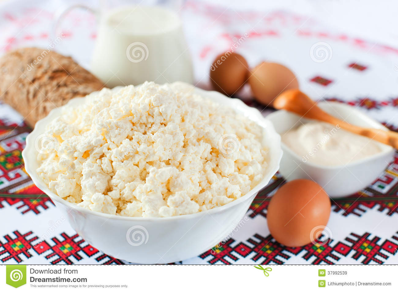 Cottage Cheese Milk Sour Cream Bread And Eggs Royalty