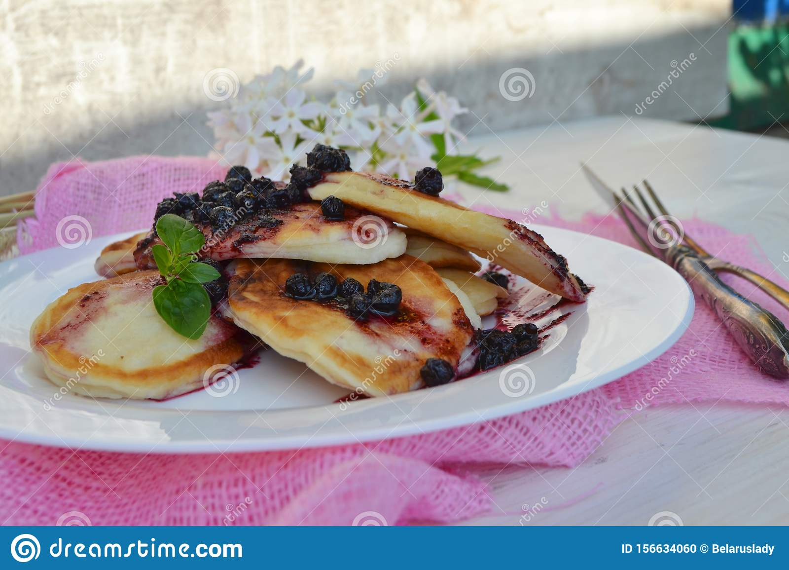 Cottage cheese pancakes with jam. Russian rustic cuisine. Concept healthy Breakfast