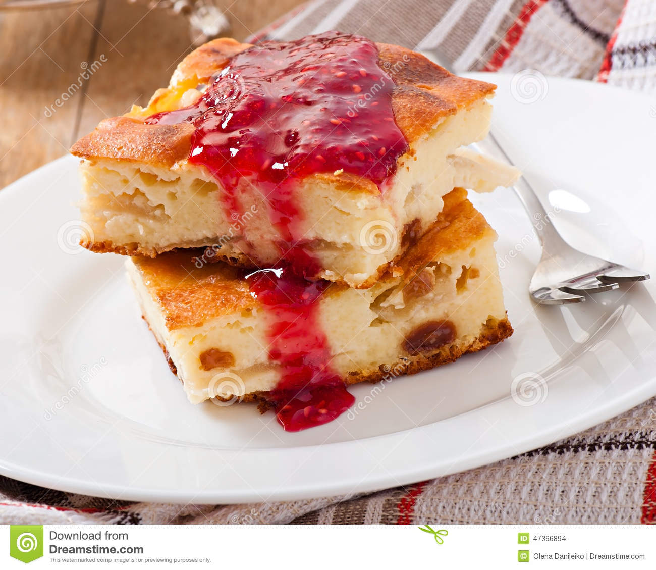 Cottage Cheese With Jam: Cottage Cheese Pudding Stock Photo