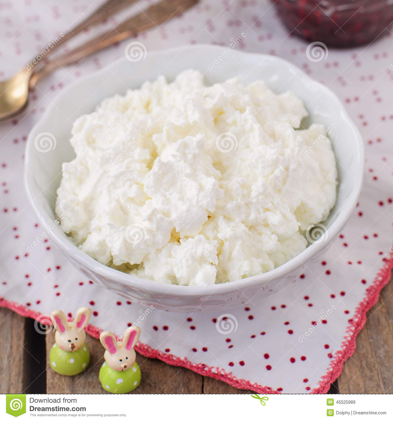 Cottage Cheese Quark Cream Cheese Curd In A White Bowl