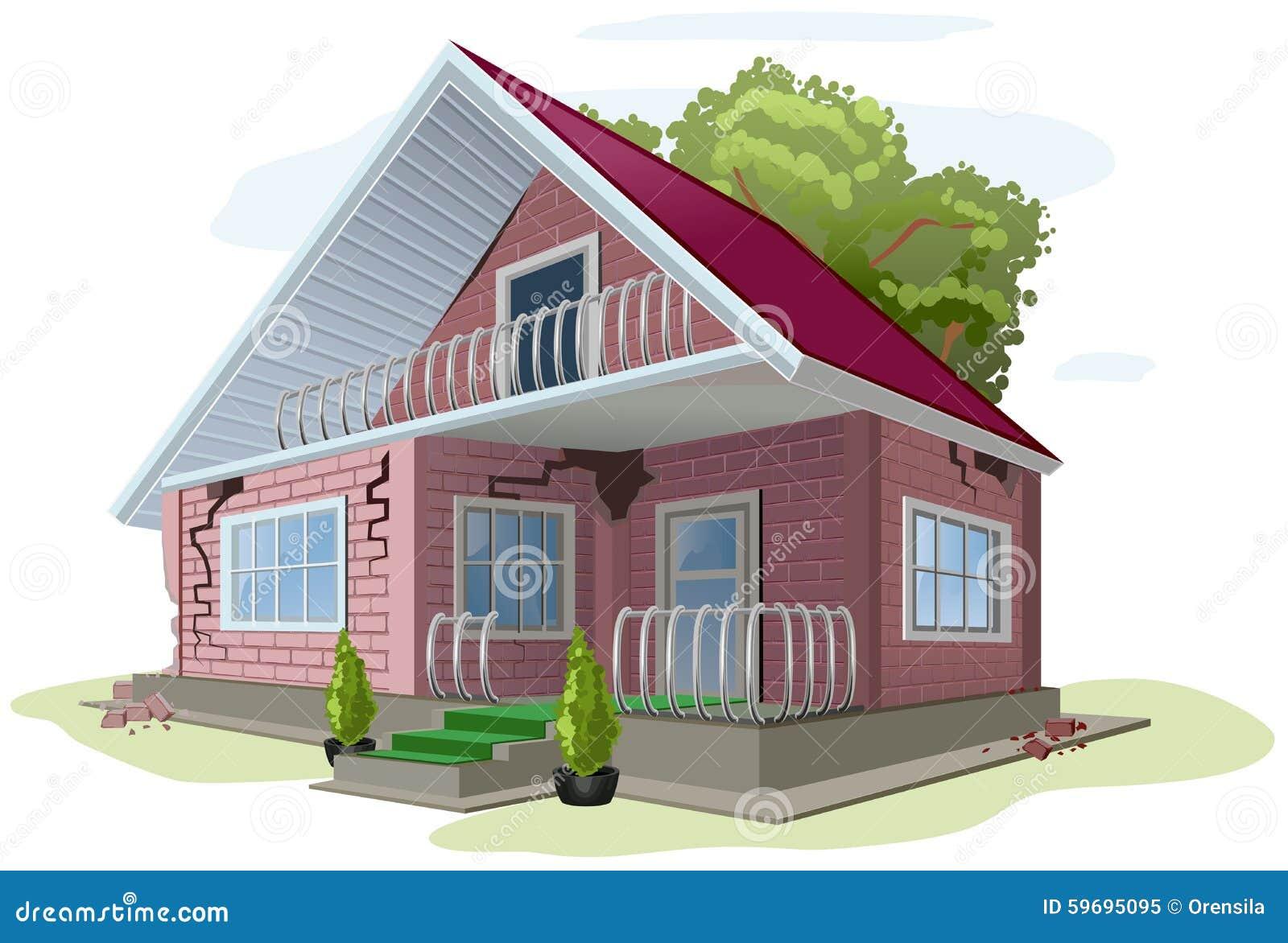 cottage de brique avec des fissures sur des murs construction des erreurs de maison de brique. Black Bedroom Furniture Sets. Home Design Ideas