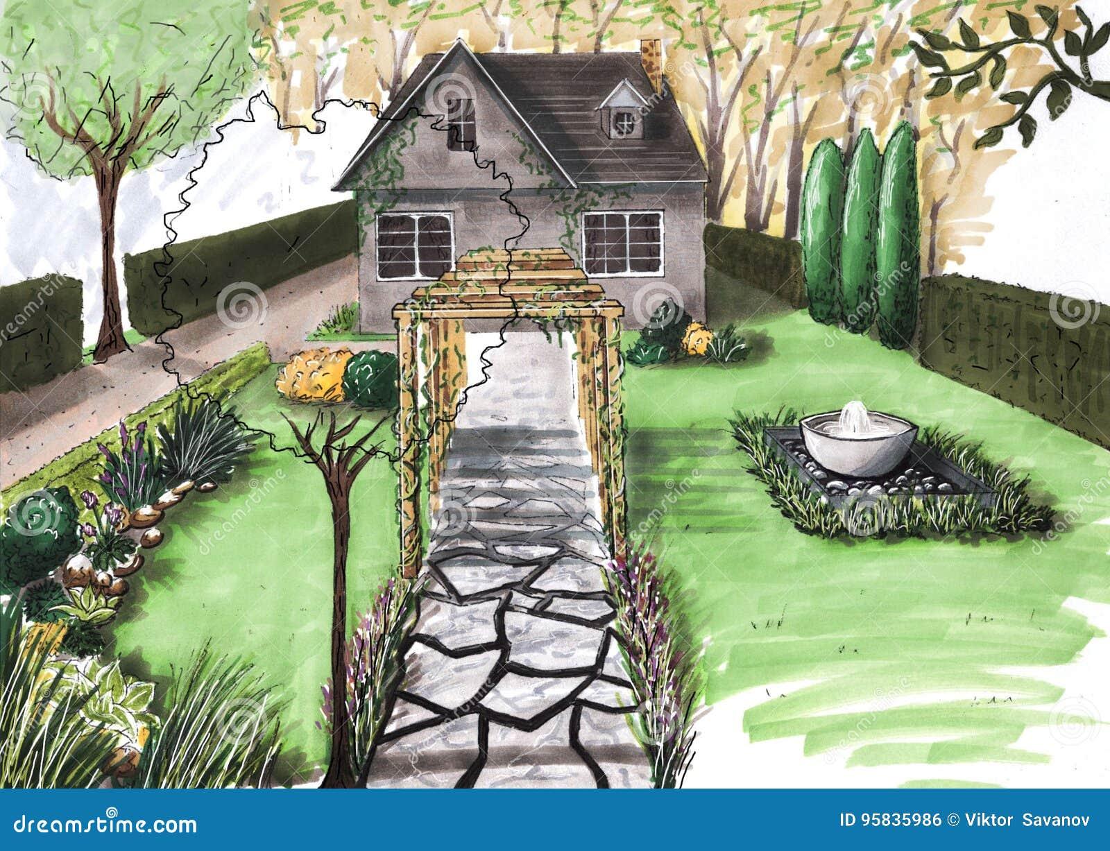 Cottage del giardino della casa del disegno illustrazione for Design giardino casa