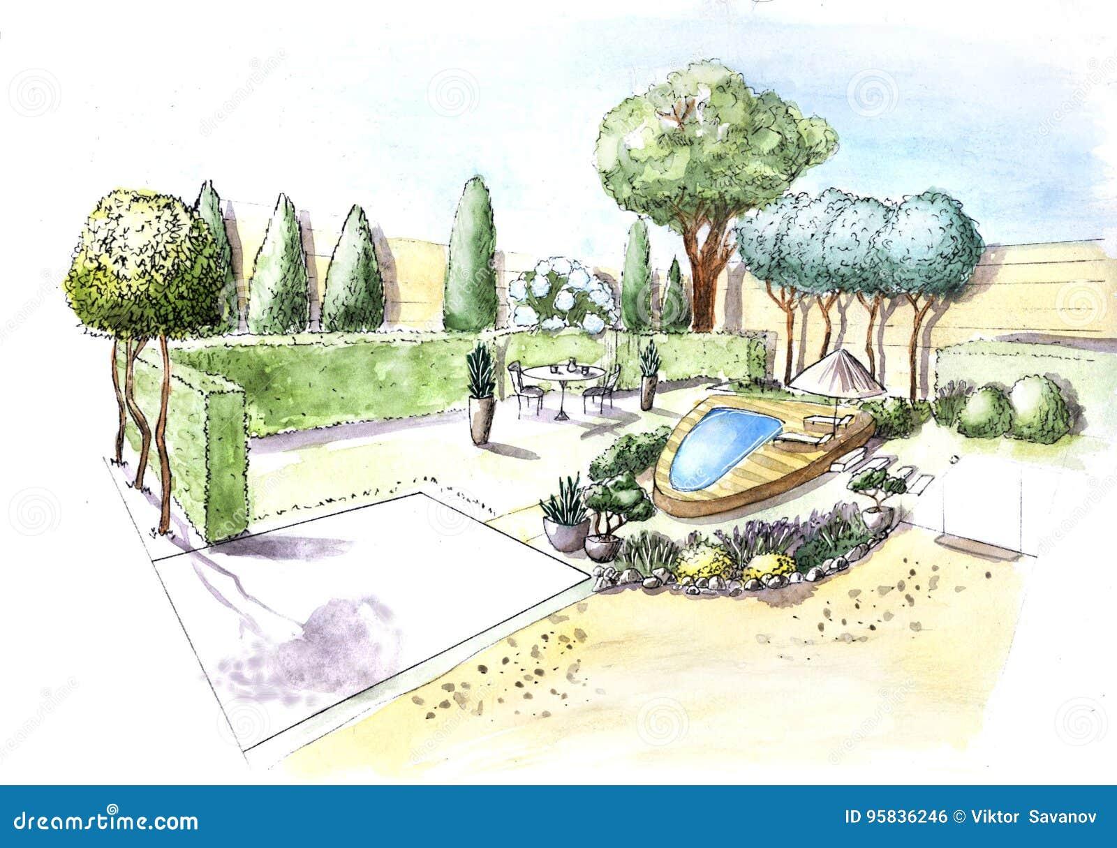 Cottage del giardino della casa del disegno illustrazione for Disegno giardini