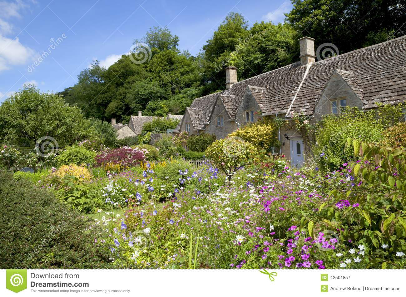 cottage garden at bibury stock photo image 42501857. Black Bedroom Furniture Sets. Home Design Ideas
