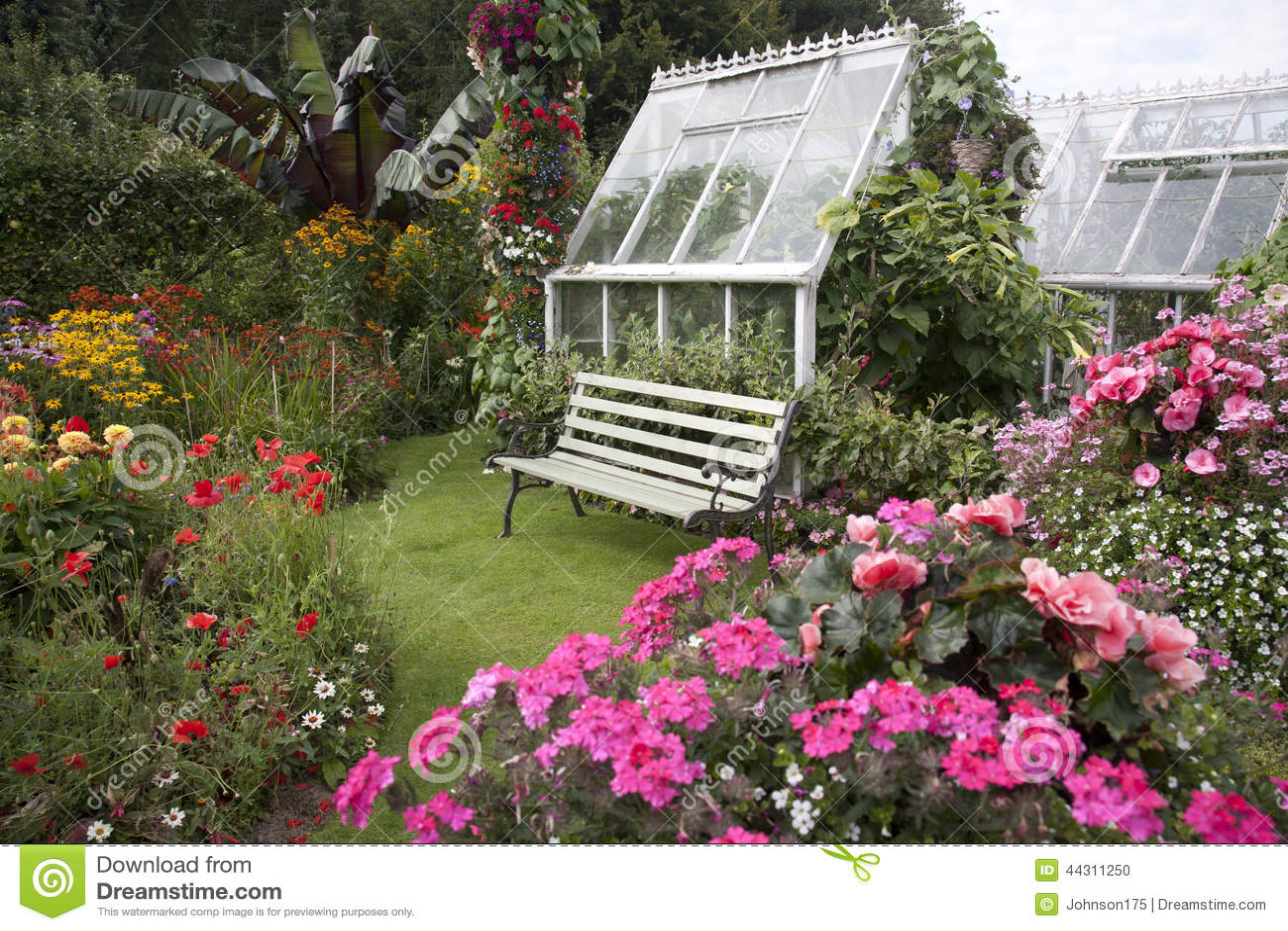 Cottage Garden Seat Greenhouse Stock Photo Image 44311250
