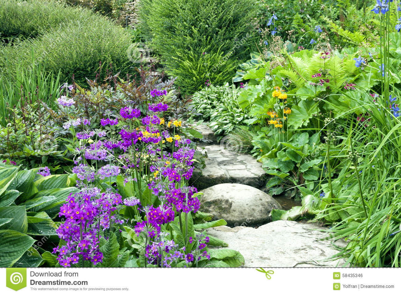 Cottage Garden Stone Steps Between Summer Flowers And