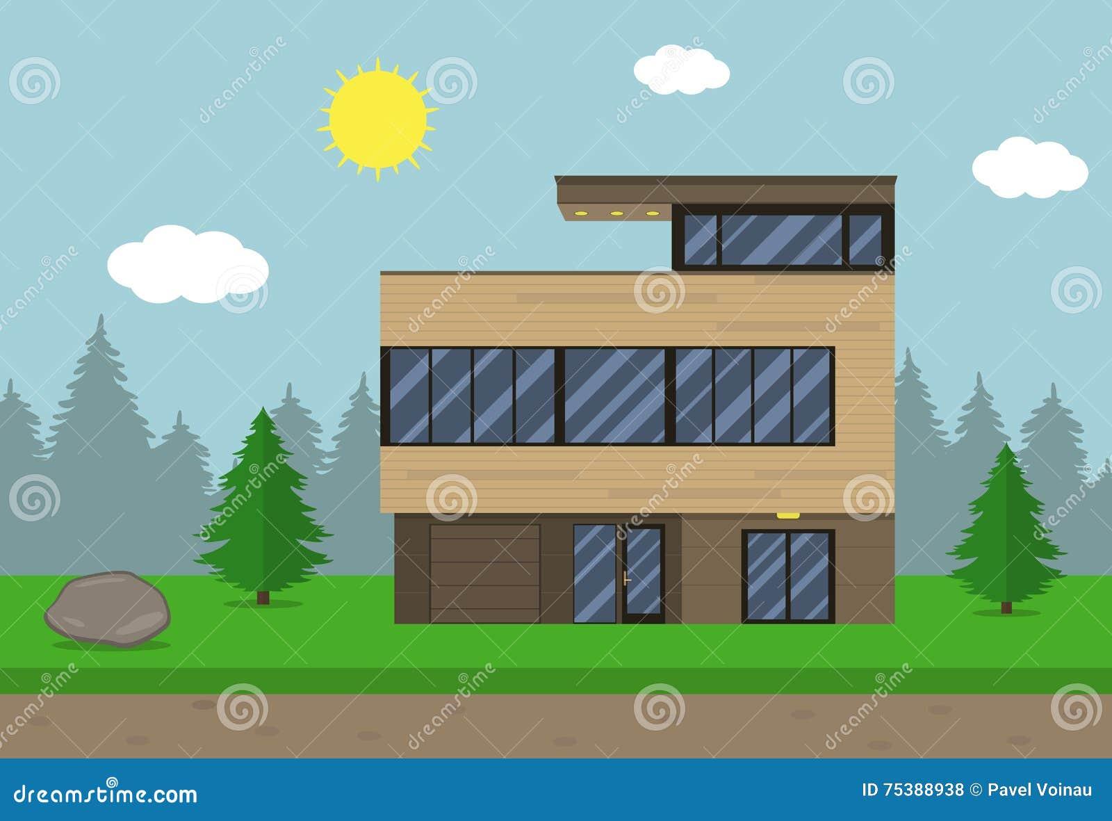 ottage House Building. Flat Design Style. Modern House. Vector ... - ^