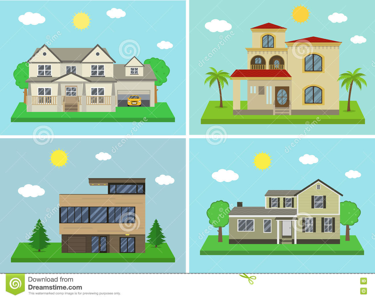 Cottage House Building Set Flat Design Style Traditional And