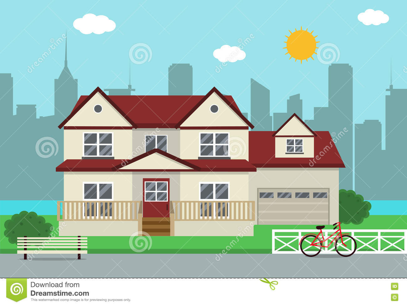 Cottage house building traditional house flat design for Traditional house building