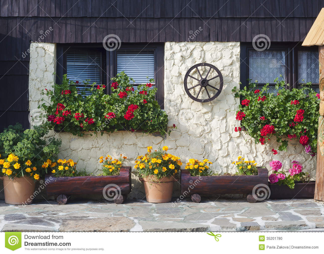 cottage house with flowers stock photo - image: 35201780