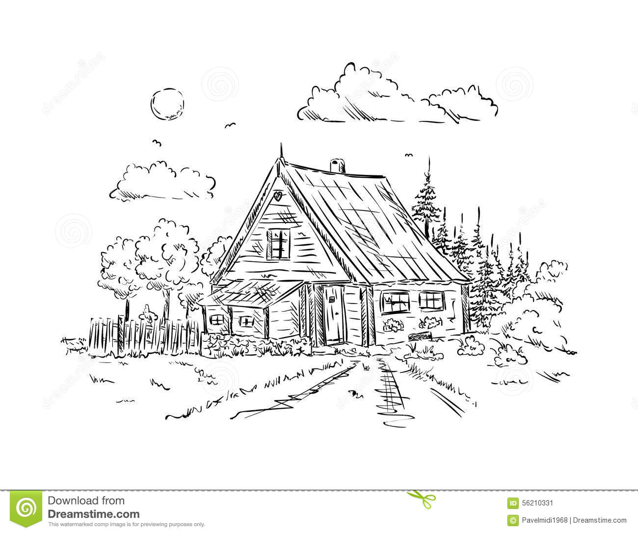 Cottage House Stock Vector Illustration Of Country Graphic