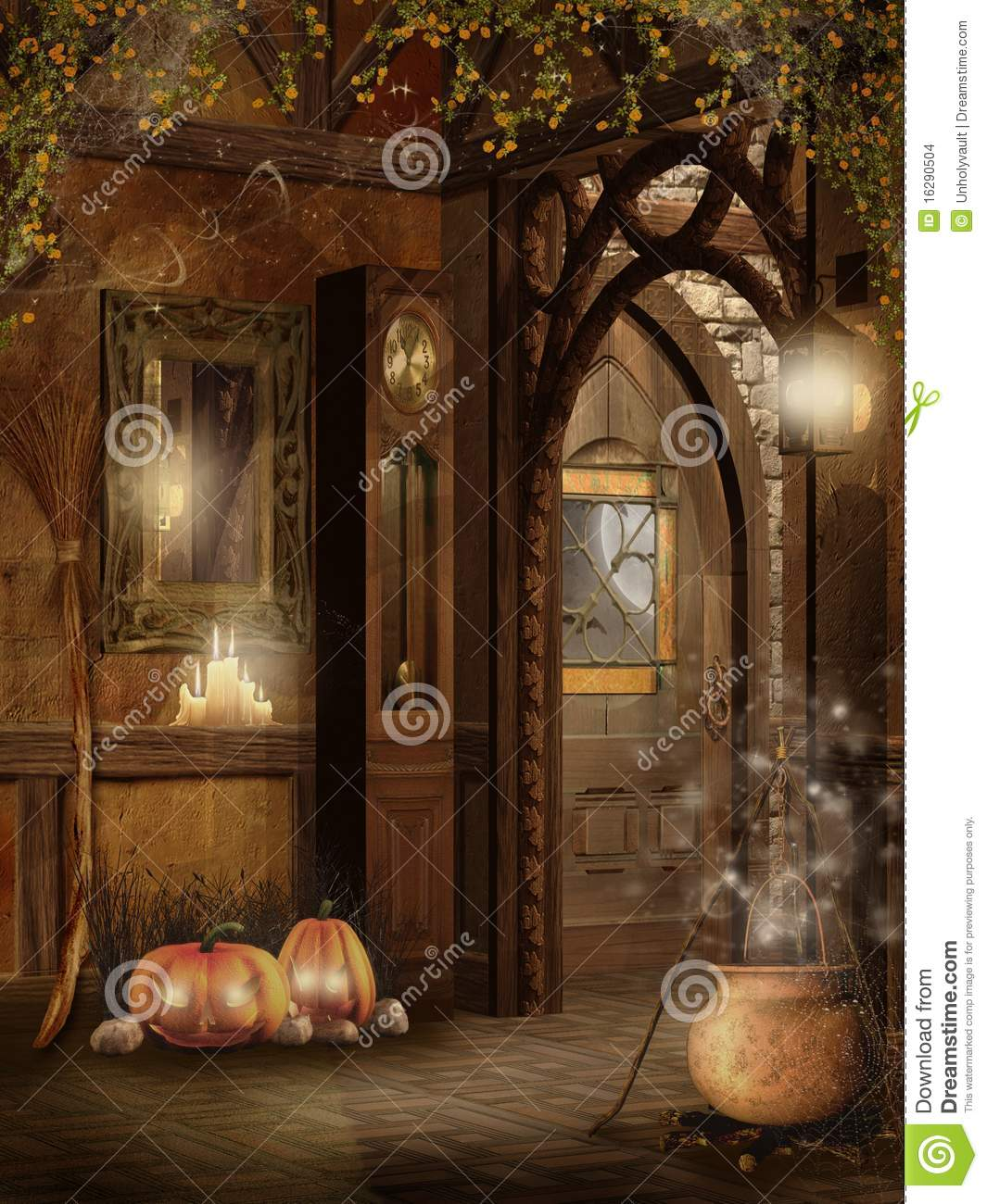 Cottage Interior With Halloween Decorations Stock