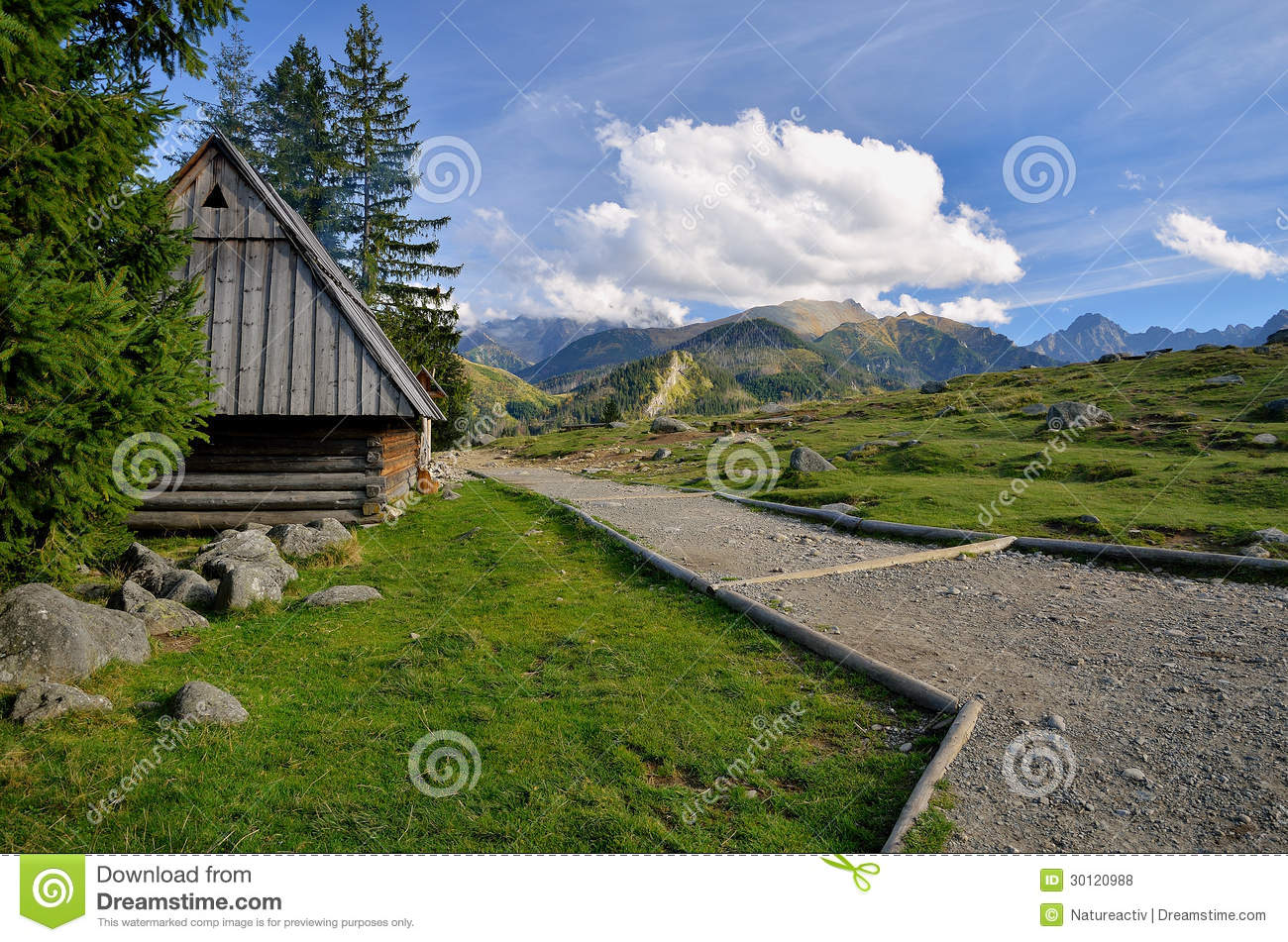 Cottage in mountain grassland royalty free stock photos for Cottage in the mountains