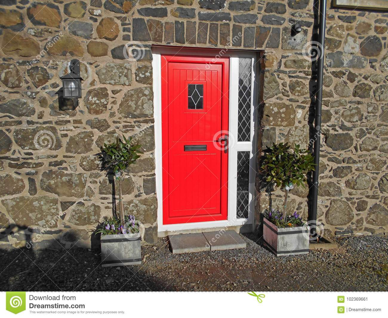 Cottage With Red Door In Northern Ireland Barn Conversion With Windows  Stone Building