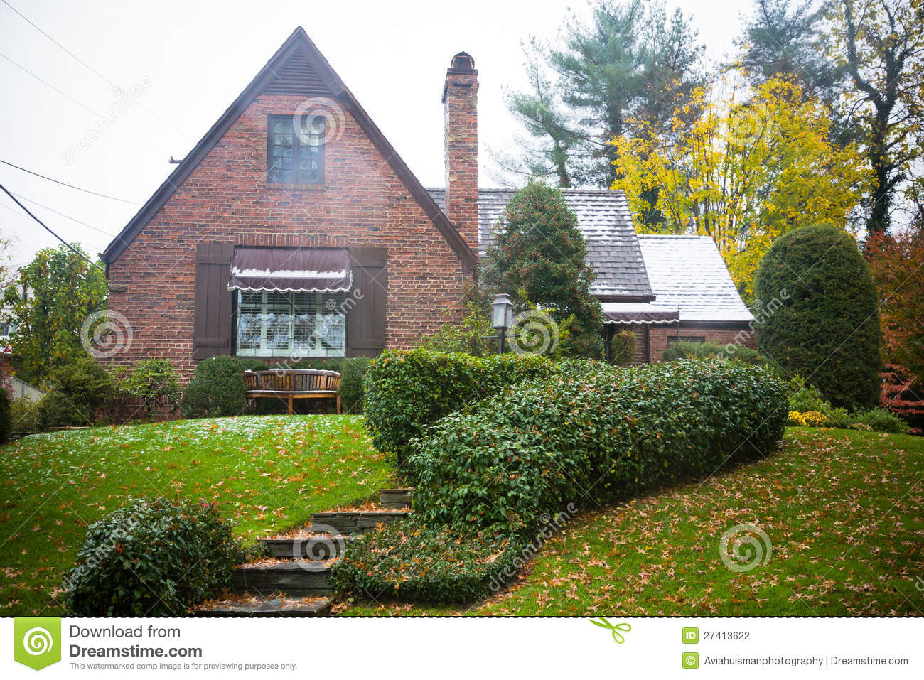 Cottage style brick home stock photography image 27413622 for Brick cabin