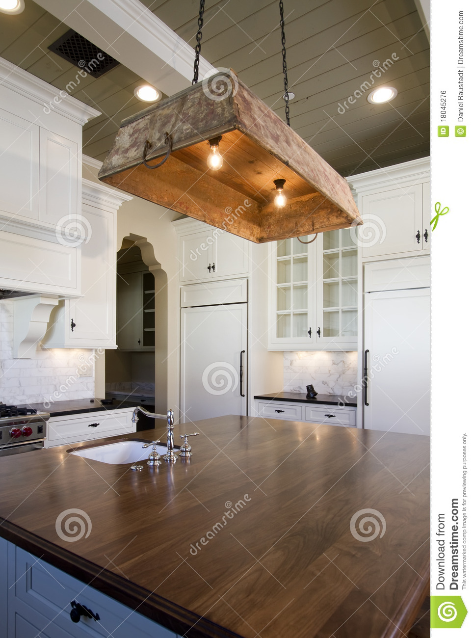Cottage Style Home White Kitchen Stock Photo - Image of ...