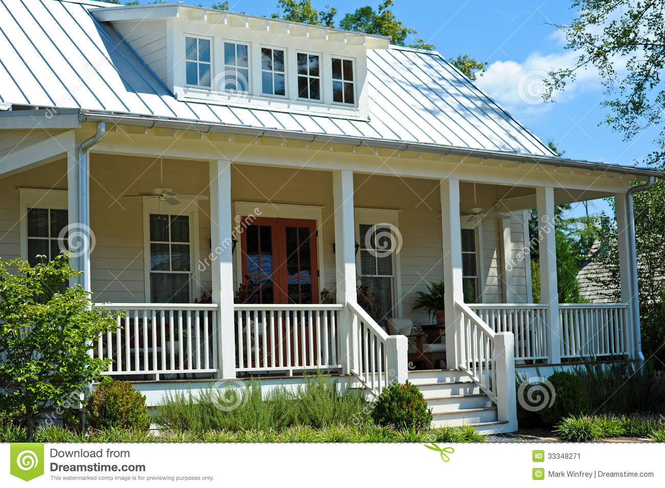 Cottage style house stock image image of house modern for House plans with large porches