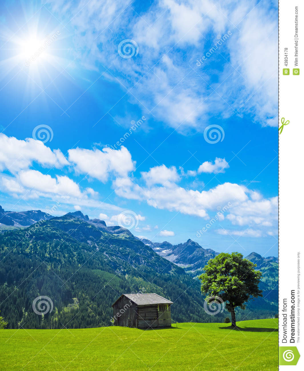 Cottage and tree in the mountains stock photo image for Cottage in the mountains