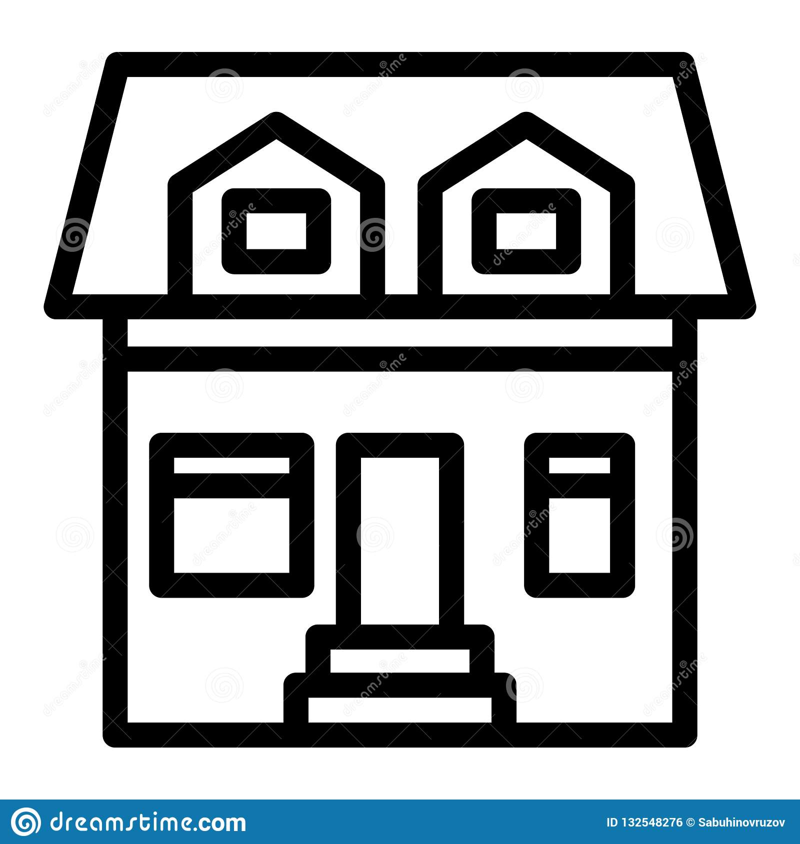 Cottage With Two Mansard Windows Line Icon  House With Attic Vector