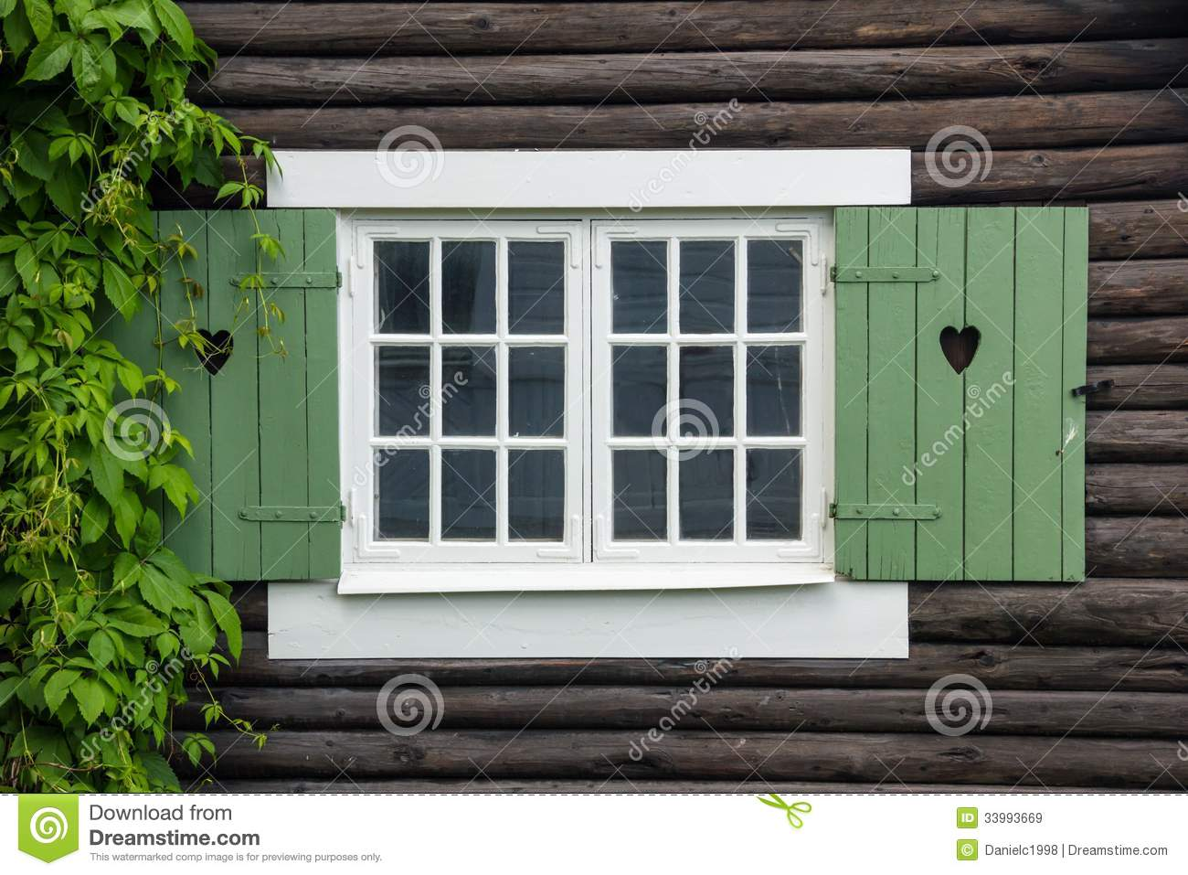 Cottage Window Shutters Decorated With Hearts Sweden