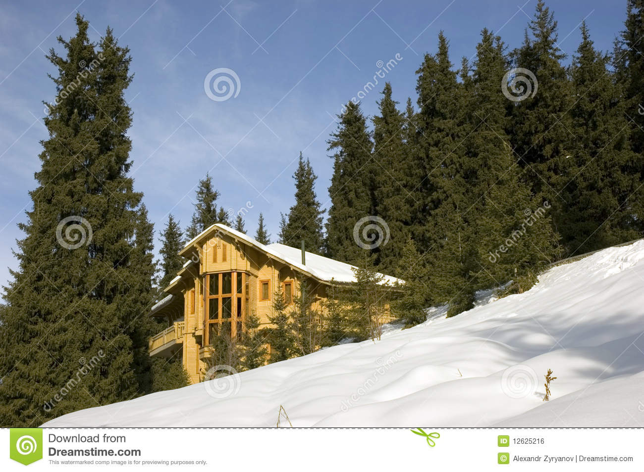 Cottage in winter mountains royalty free stock image for Cottage in the mountains