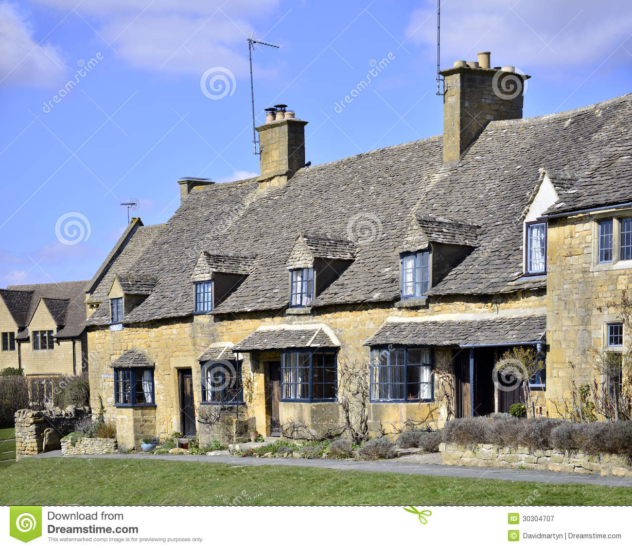 Cottages Broadway Royalty Free Stock Photography Image