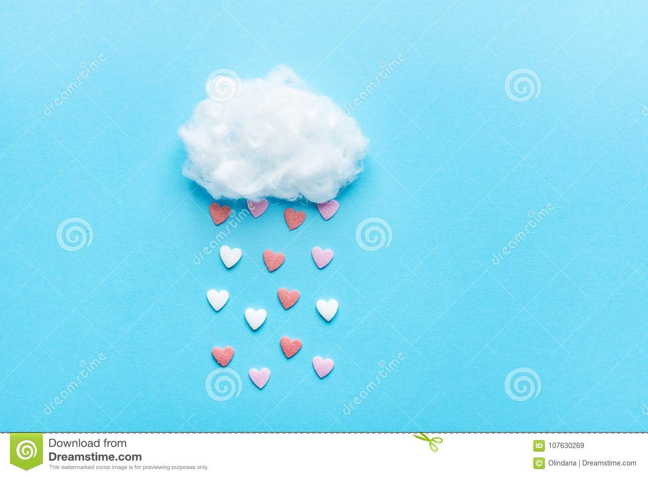 Cotton Ball Cloud Rain Sugar Candy Sprinkle Hearts Red Pink White on Blue Sky Background. Applique Art Composition Valentines