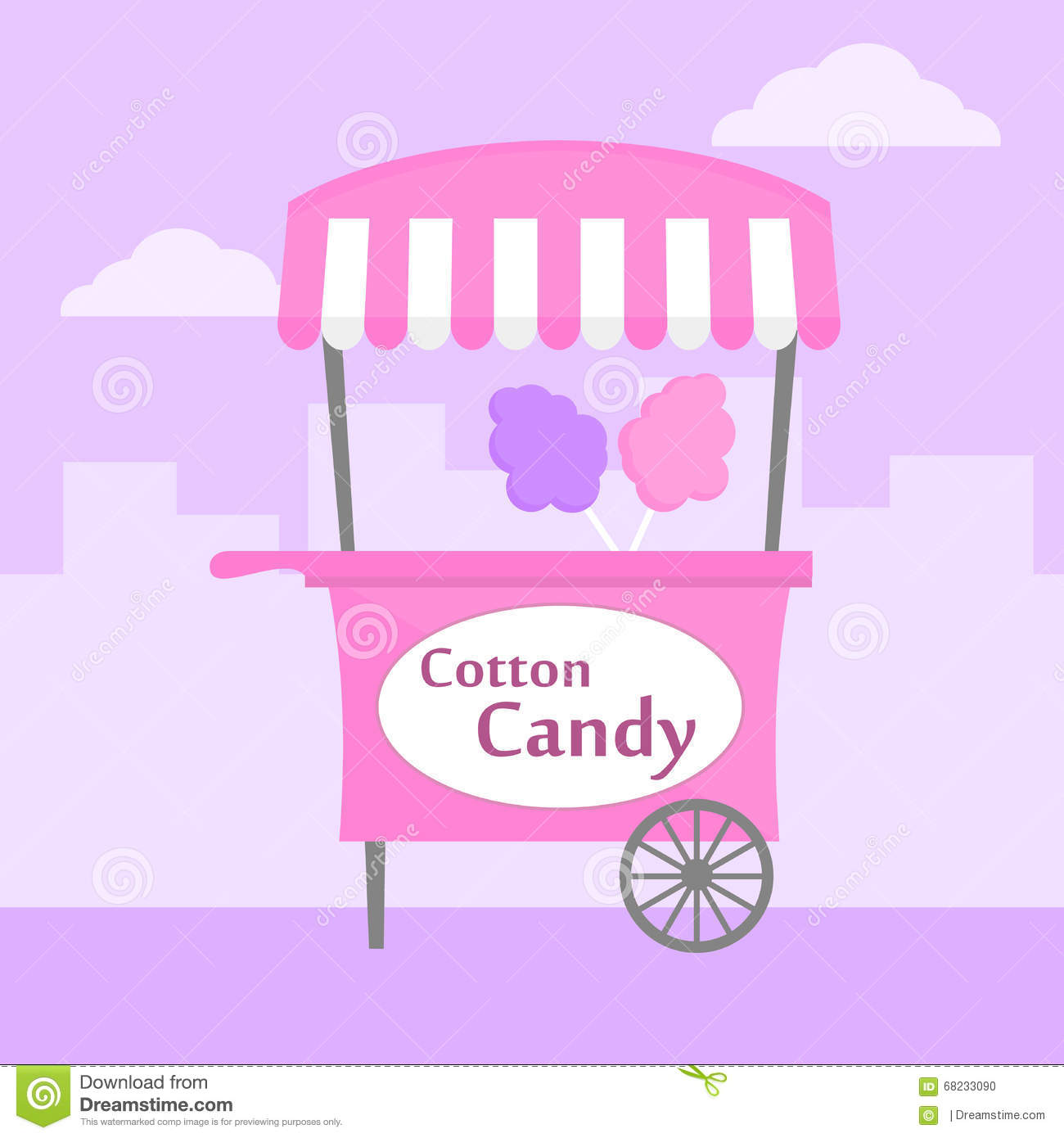 Cotton candy stock vector. Illustration of purple, cart ...