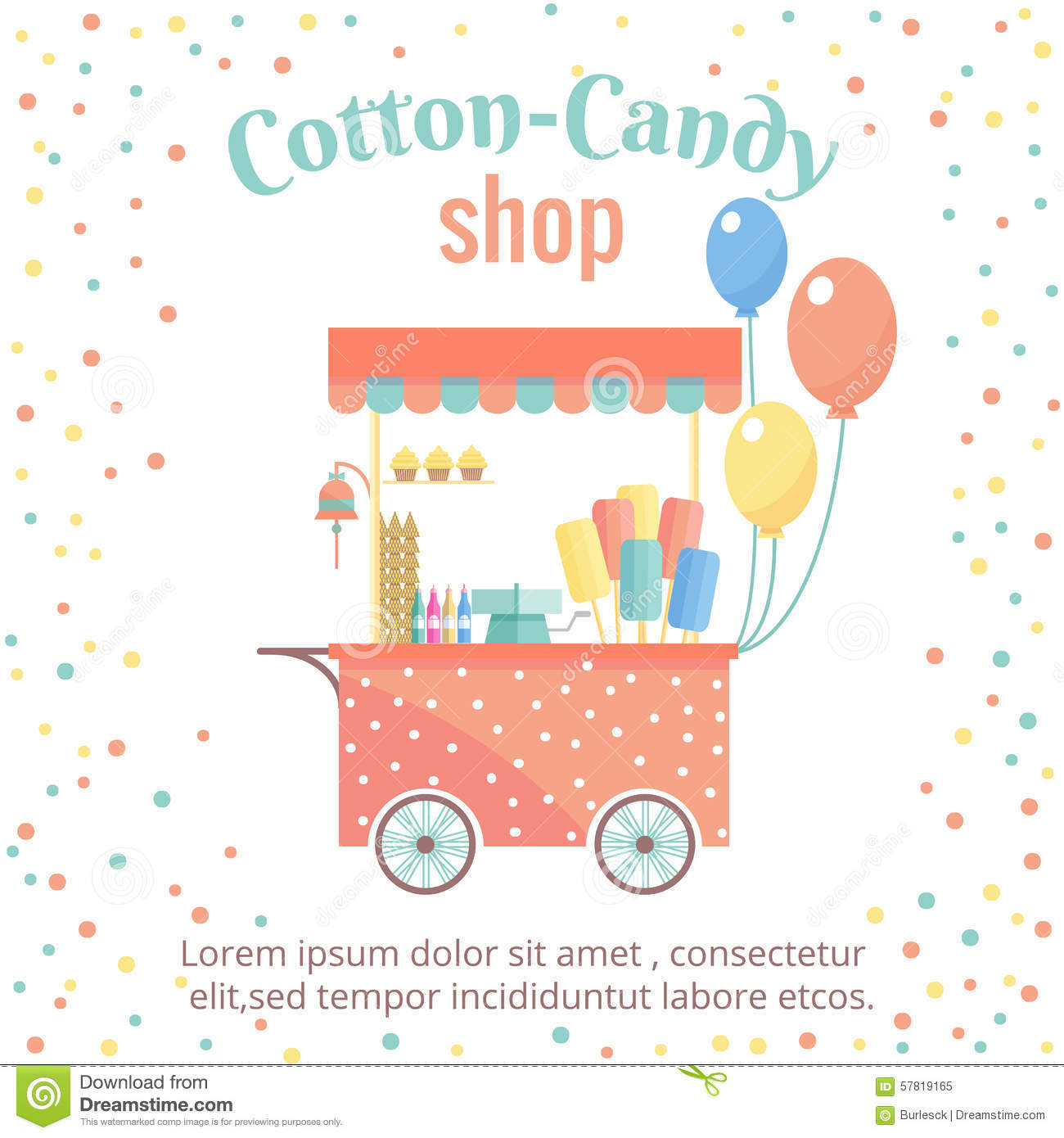 Cotton Candy Sign: Cotton Candy And Ice Cream Street Shopping Cart Stock