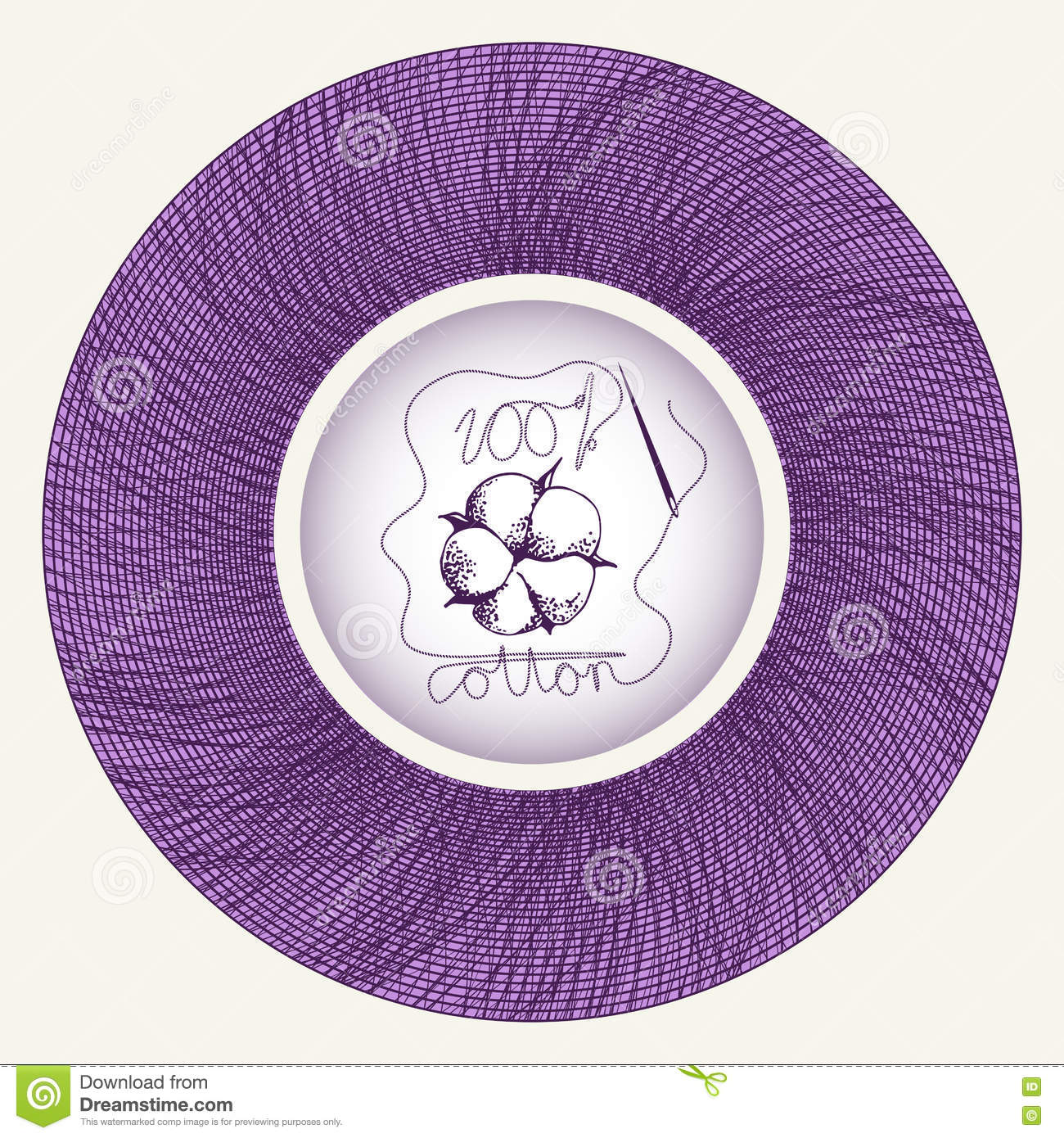 Cotton Flower In Needle Spool Stock Vector Illustration Of