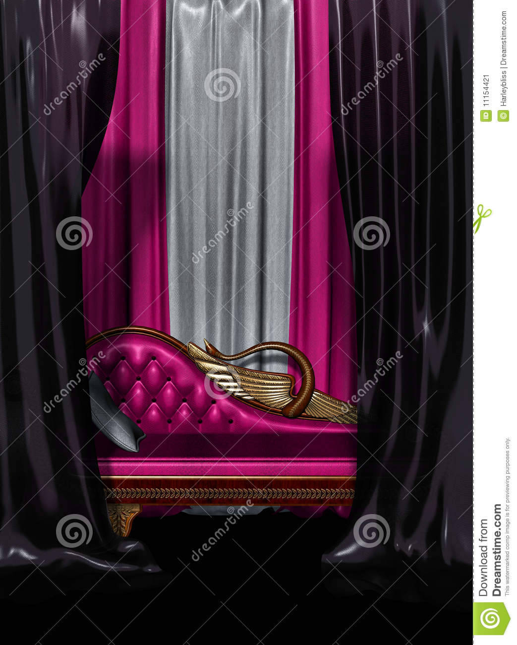 A Sitting Room With Hot Pink And Black Curtains Couch