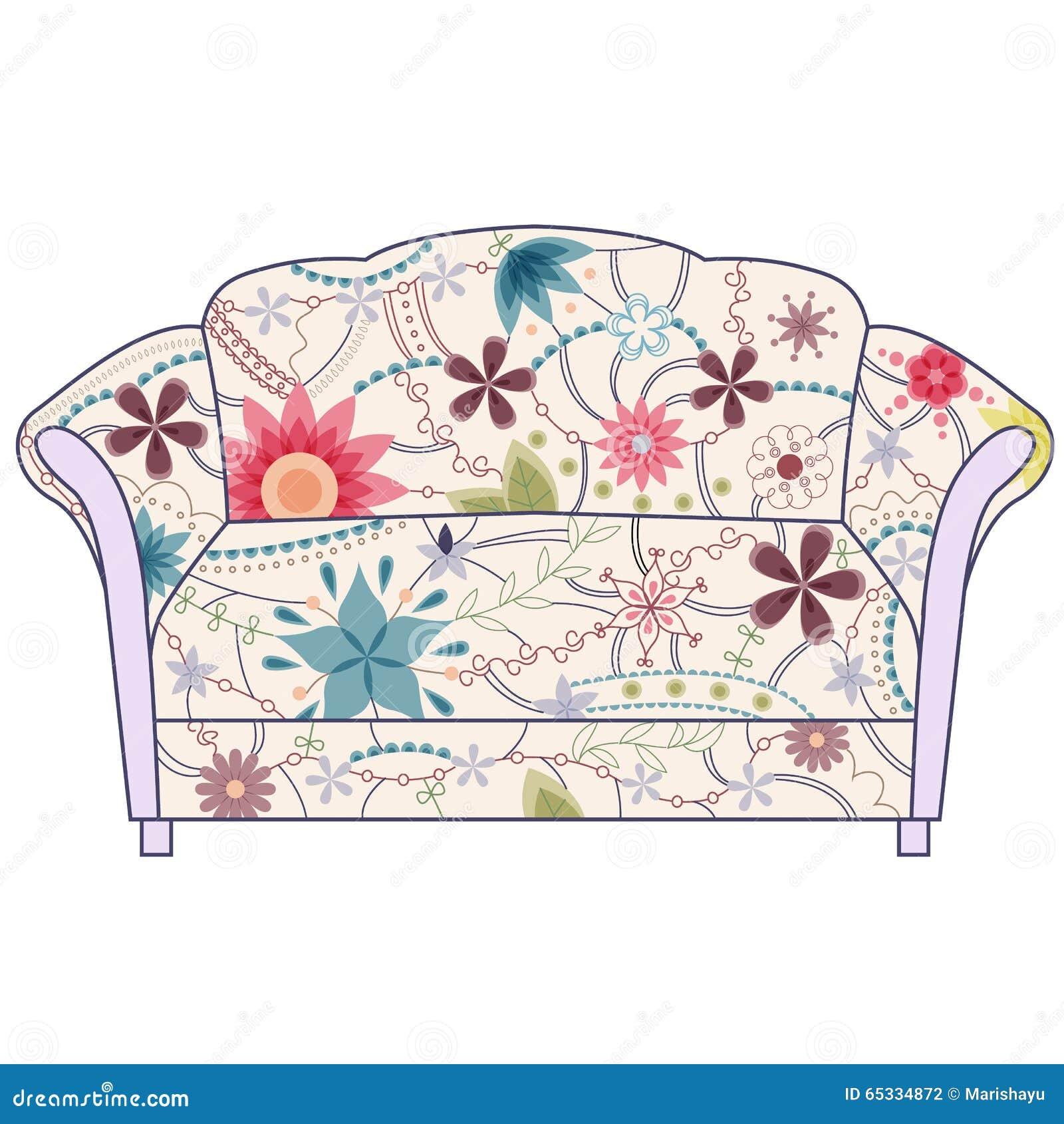 Couch gemaltes weinleseschattenbild vektor abbildung for Sofa zeichnung