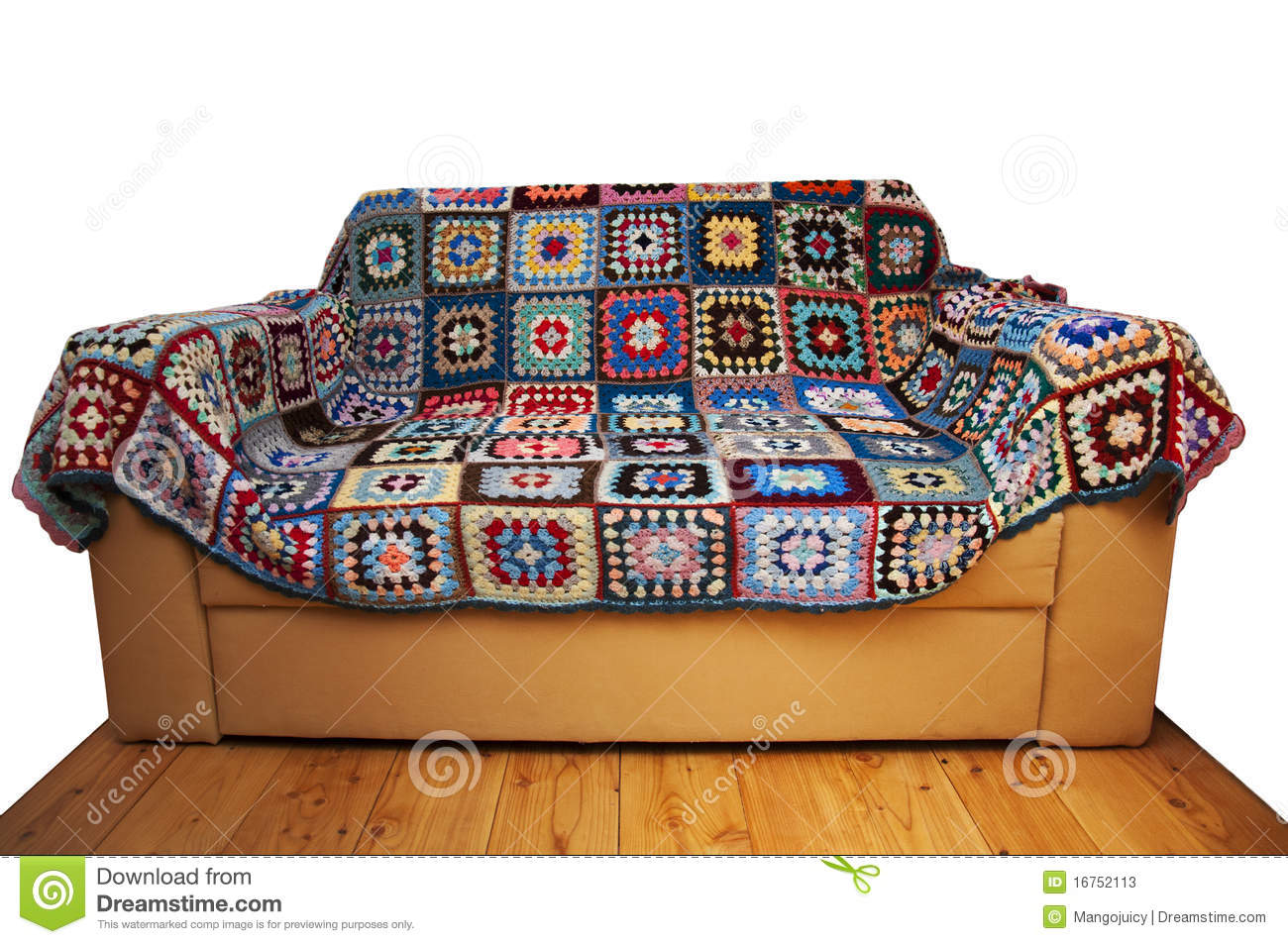 Couch And Geometric Pattern Cover Isolated Royalty Free