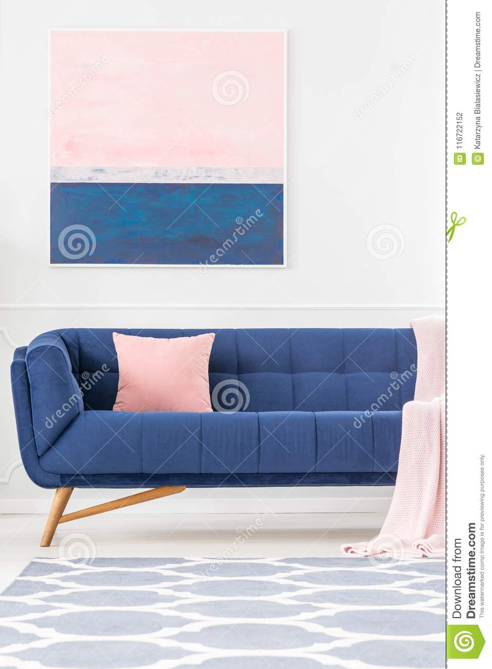 Fantastic Couch With Pillow Stock Photo Image Of Navy Pink Design Ncnpc Chair Design For Home Ncnpcorg