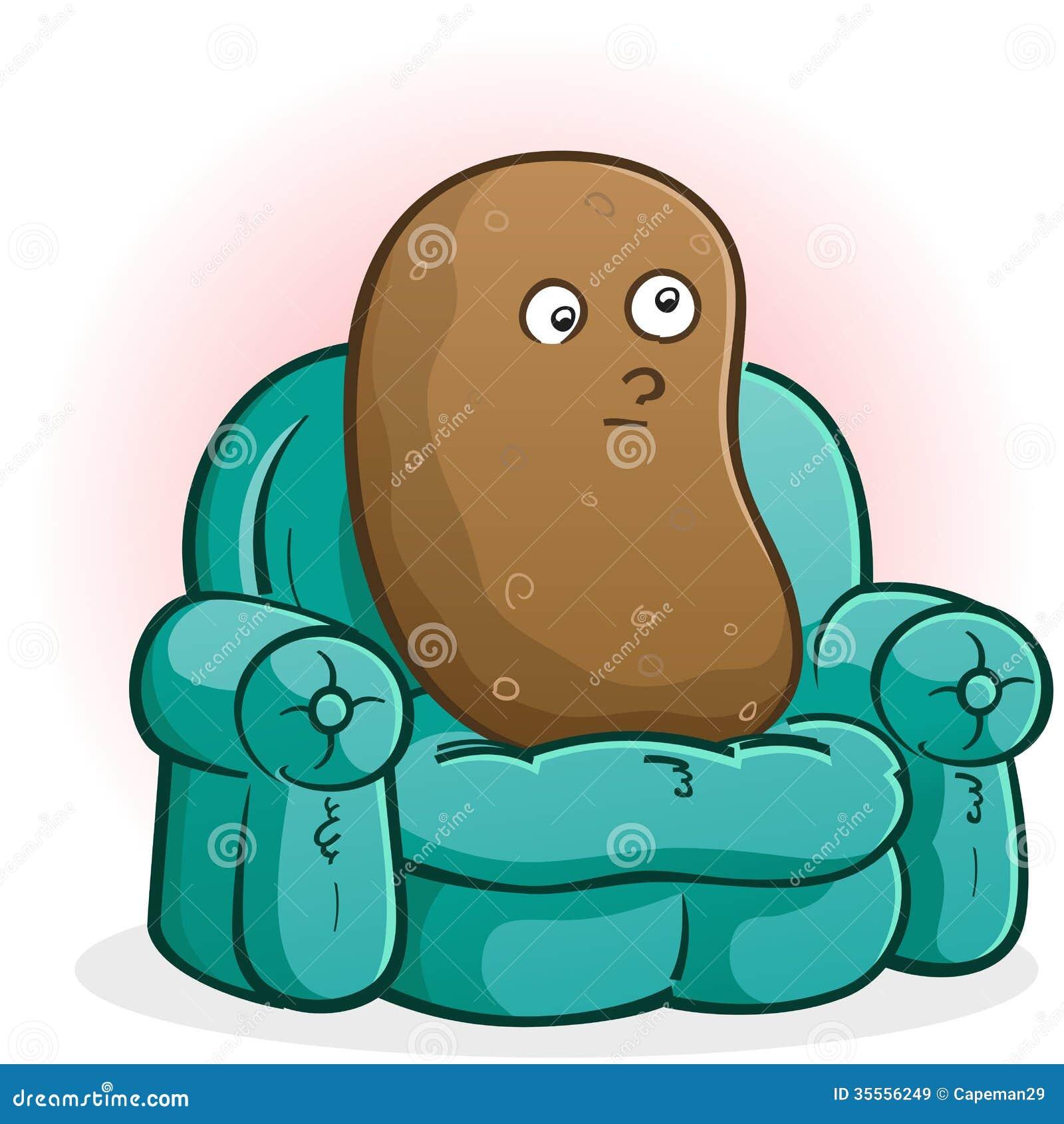 Couch Potato Cartoon Character Stock Vector Image 35556249