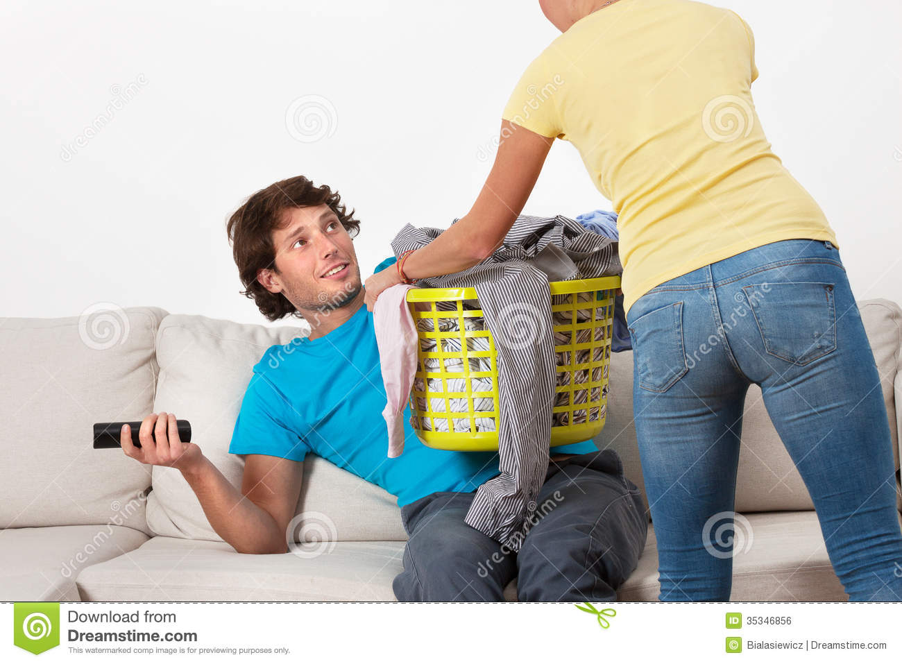 Couch Potato And His Wife Royalty Free Stock Image Image