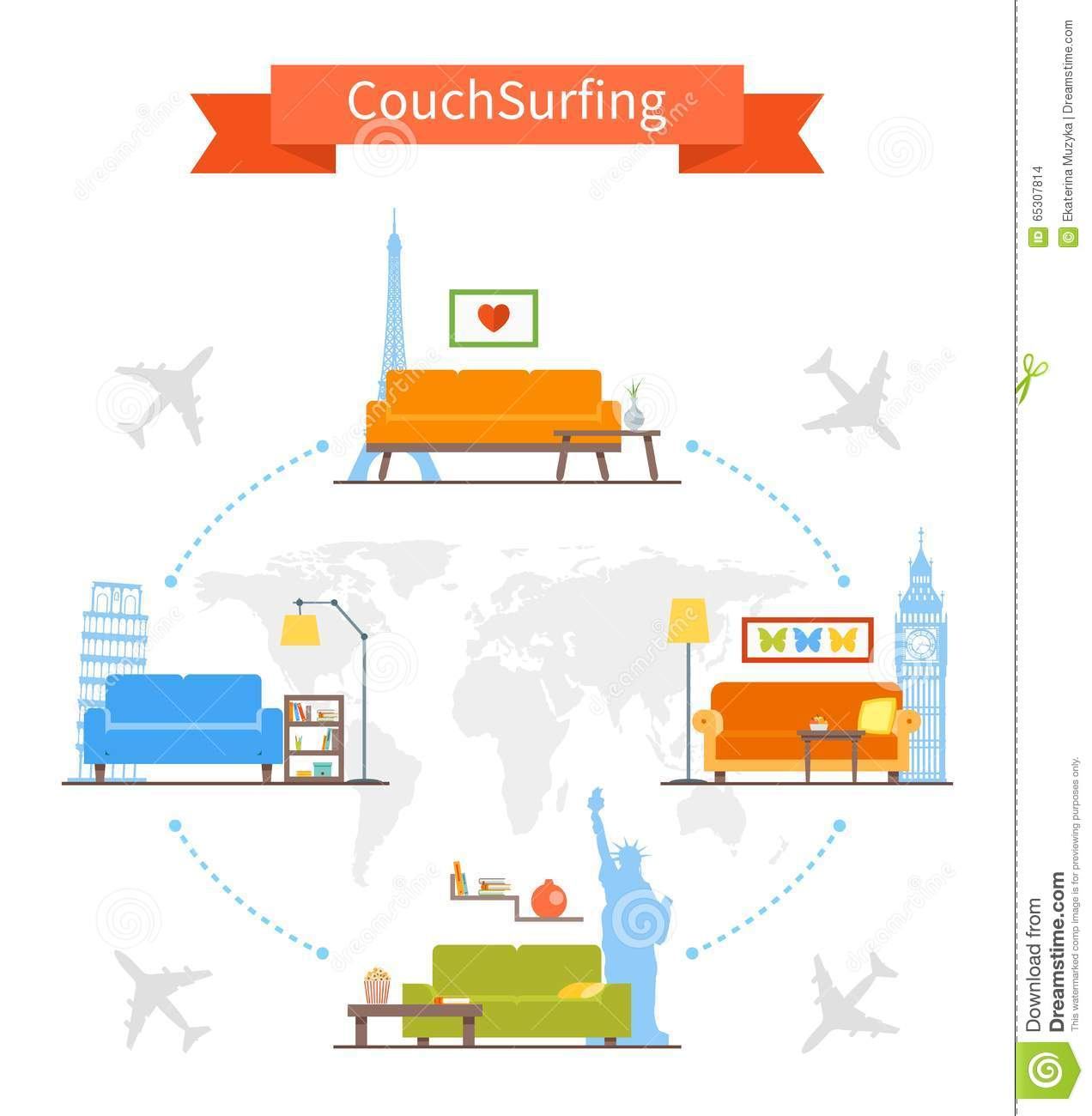 Couchsurfing cartoons illustrations vector stock images for Couch surfing